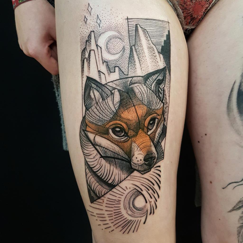 Illustrative fox tattoo