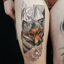 Illustrative fox tattoo by mojoncio
