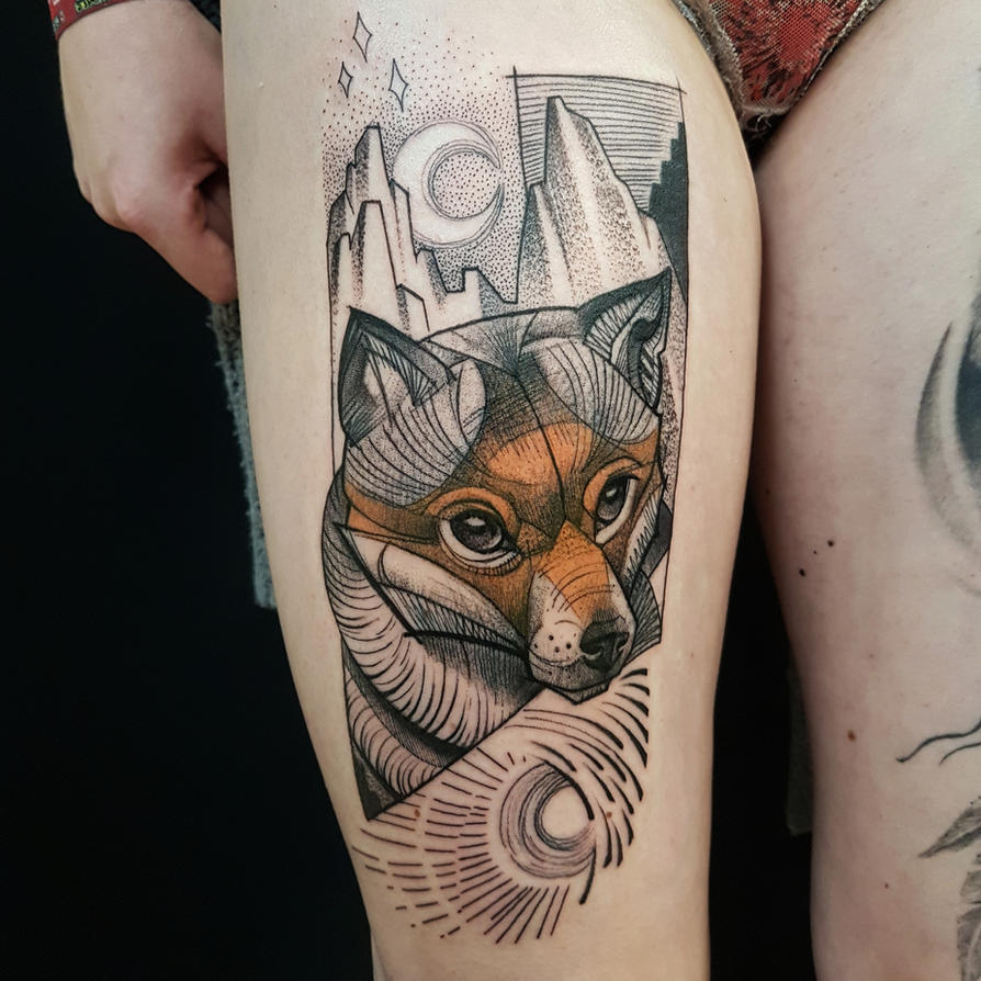 Illustrative fox tattoo by mojoncio