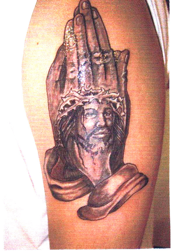tattoos of praying hands with cross. Prayer Hands and Jesus