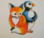Fox and Penguin Tattoo Design