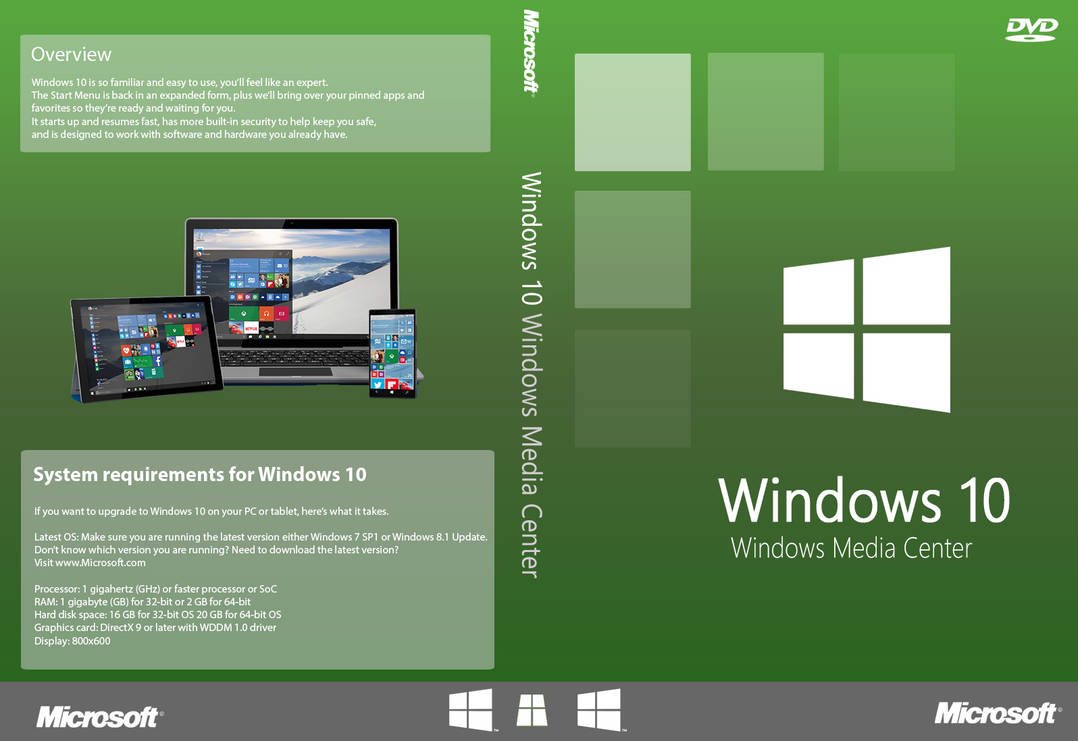 Windows 10 Cover - Windows Media Center dvd cover by