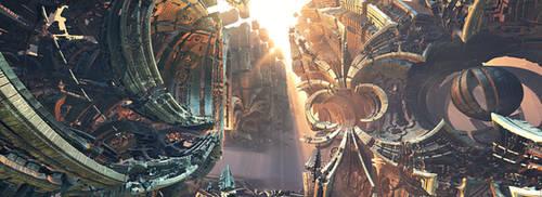 Spaceship Scrapyard by dakonoco