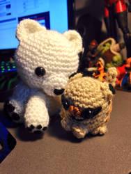 Polar Bear and Chibi Meercat by MushaMurron