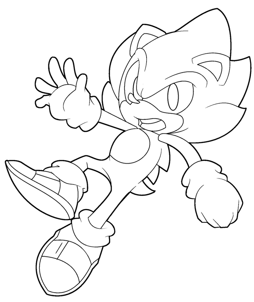 super sonic coloring page by ten heart on deviantart