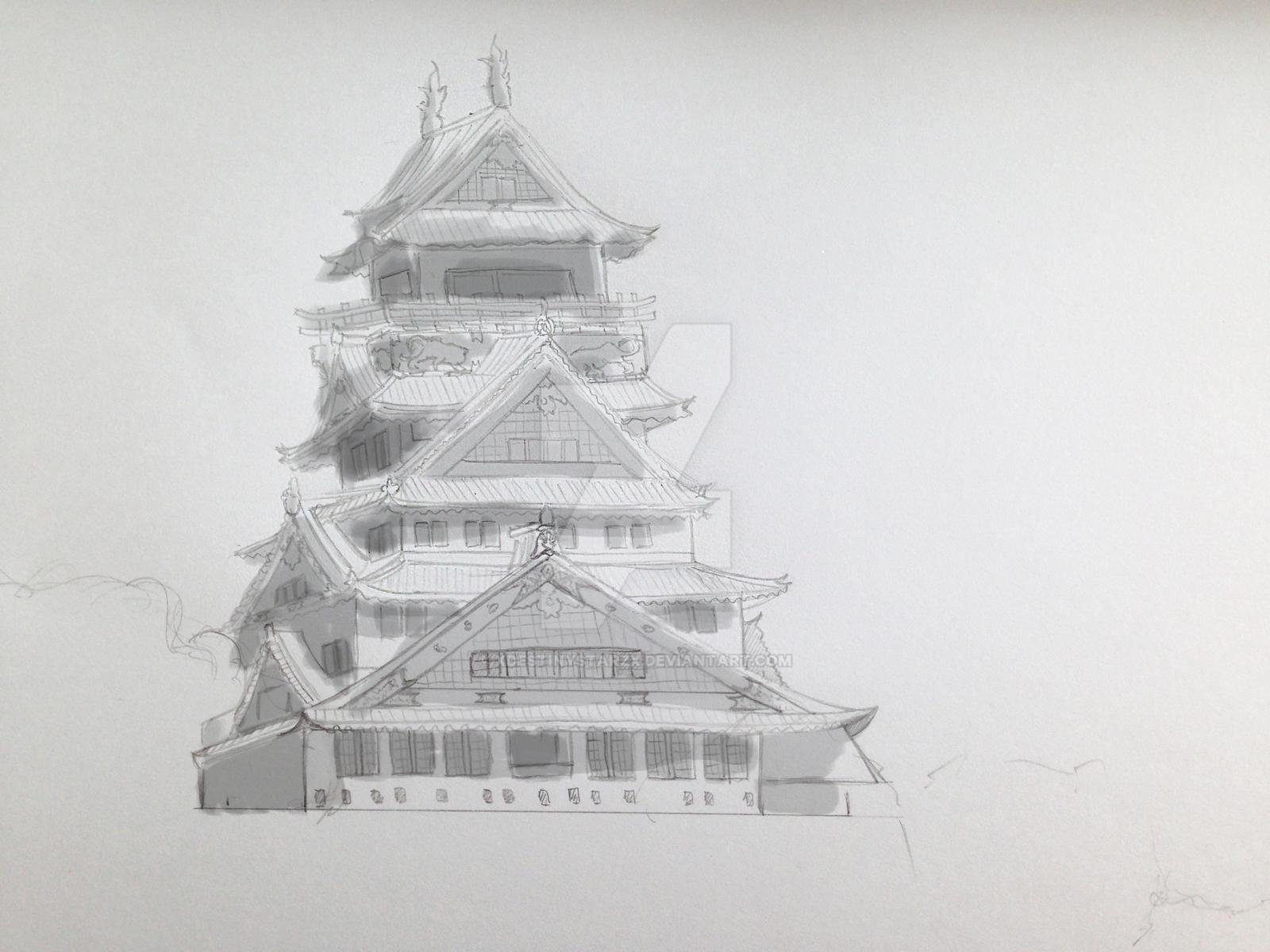 Osaka castle shading by xdestinystarzx osaka castle shading by xdestinystarzx