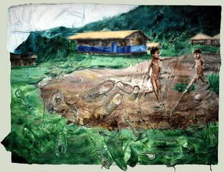Children playing football in Chiapas by AL1970ART