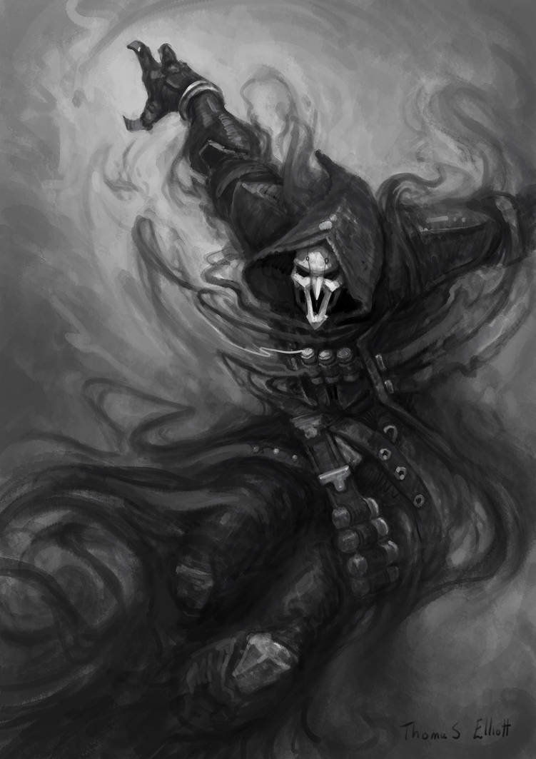 Reaper Black And White Overwatch Fanart By Art Tool On