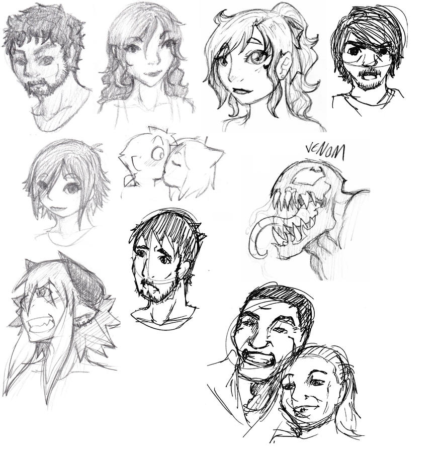 sketch faces by Ruxikah
