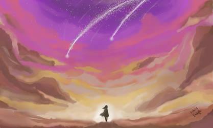 Meteor shower - evening sky