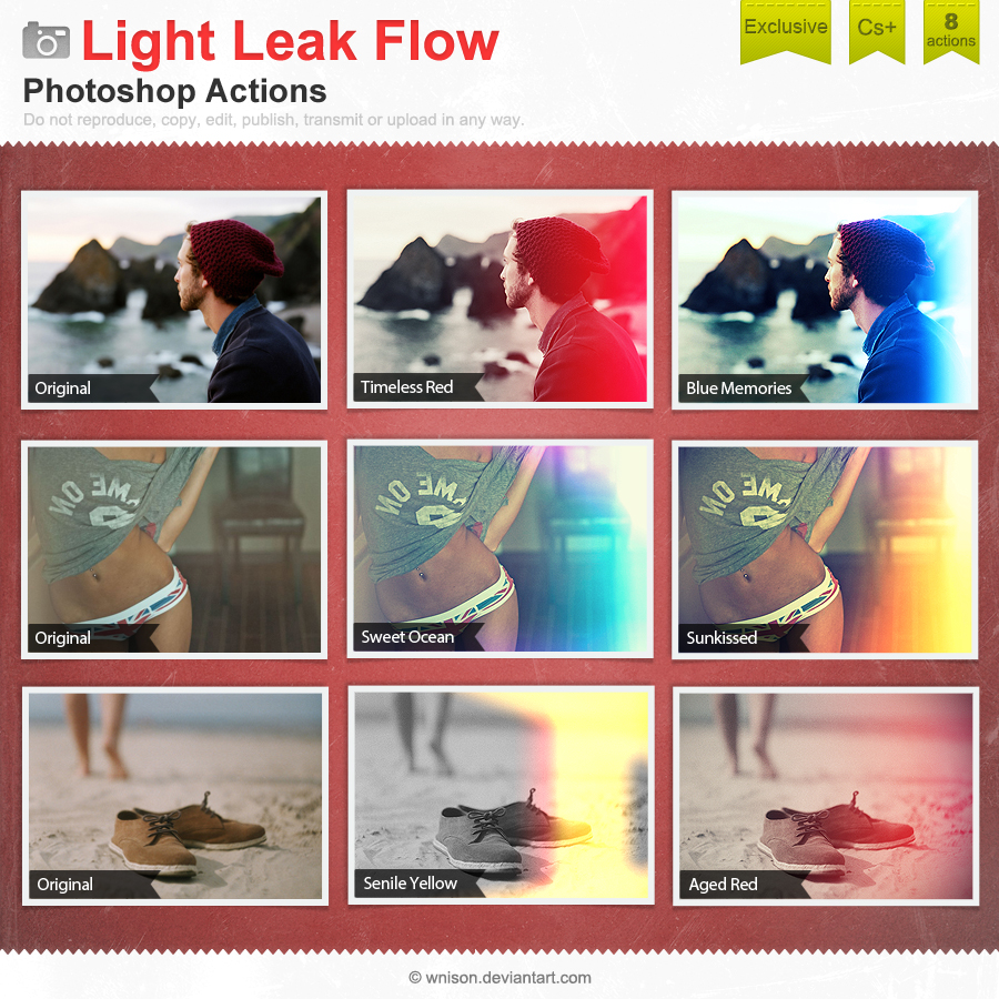 Light Leak Flow Photoshop Actions by Wnison