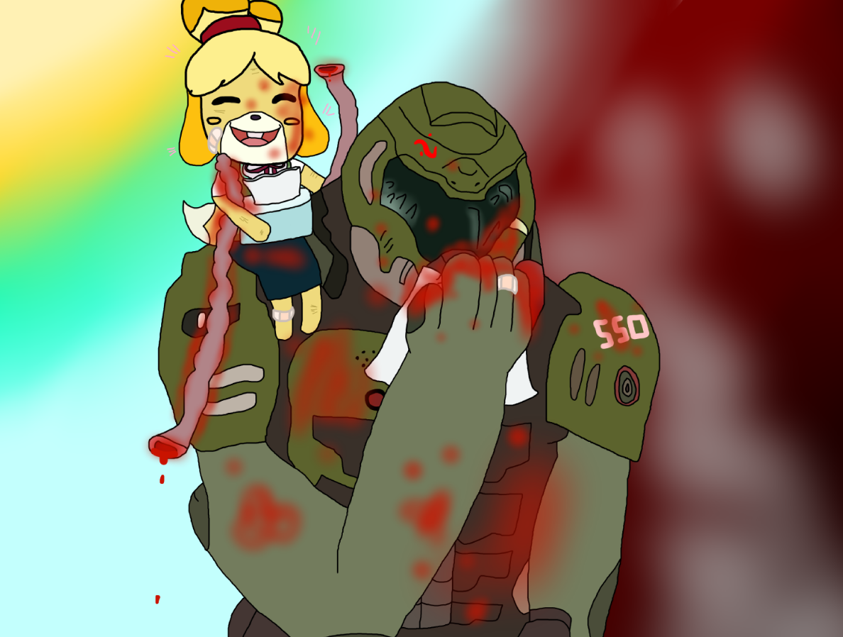 Support And Destruction Isabelle And Doom Guy By Firecomicnothard On Deviantart