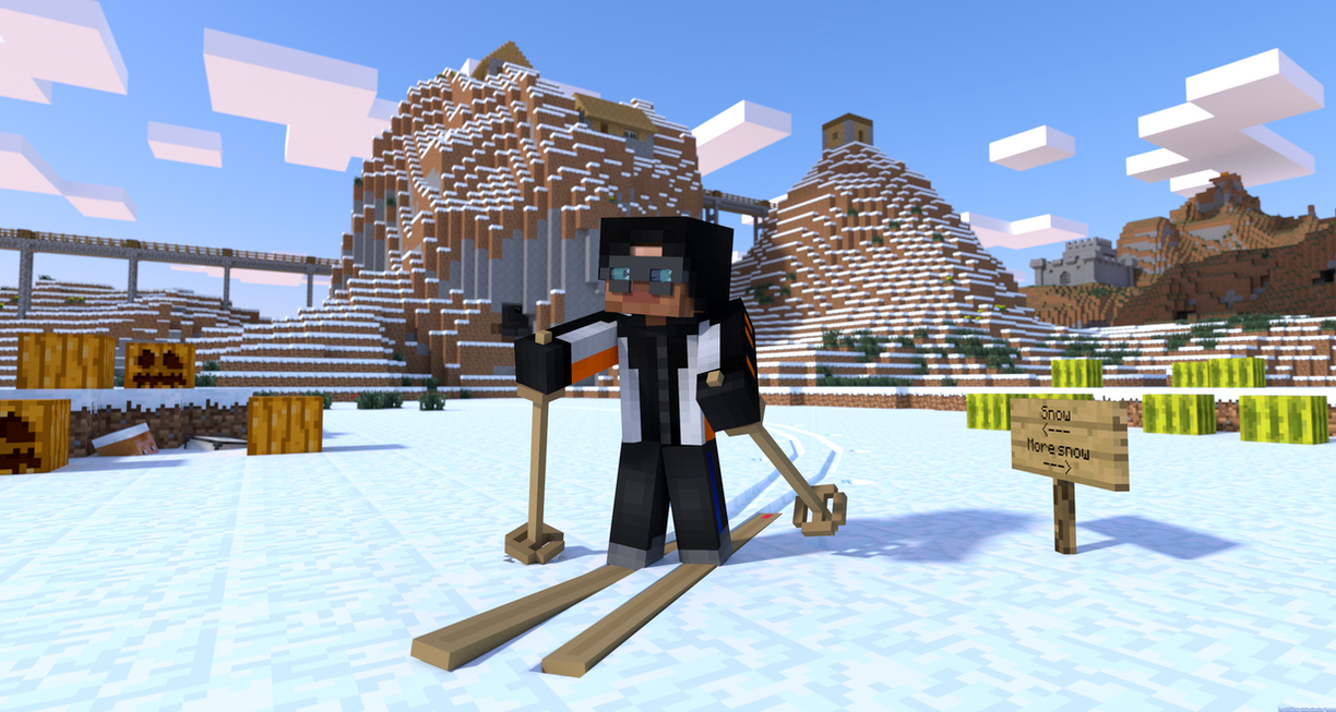 Download Wallpaper Minecraft Winter - minecraft_skiing_by_lockrikard-d5xk3vh  Collection_426263.png