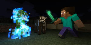 Steve, a cow and a charged creeper by LockRikard