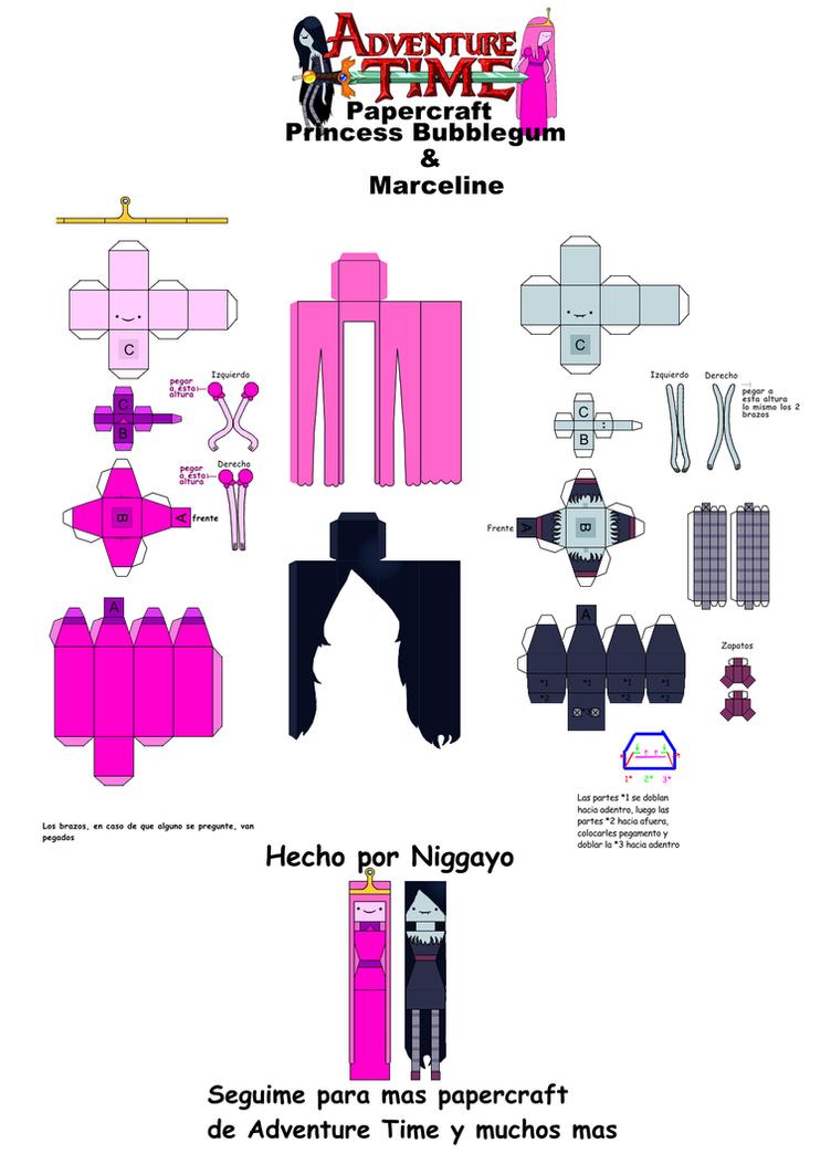 Princess Bubblegum Y Marceline Papercrafts By Niggayo