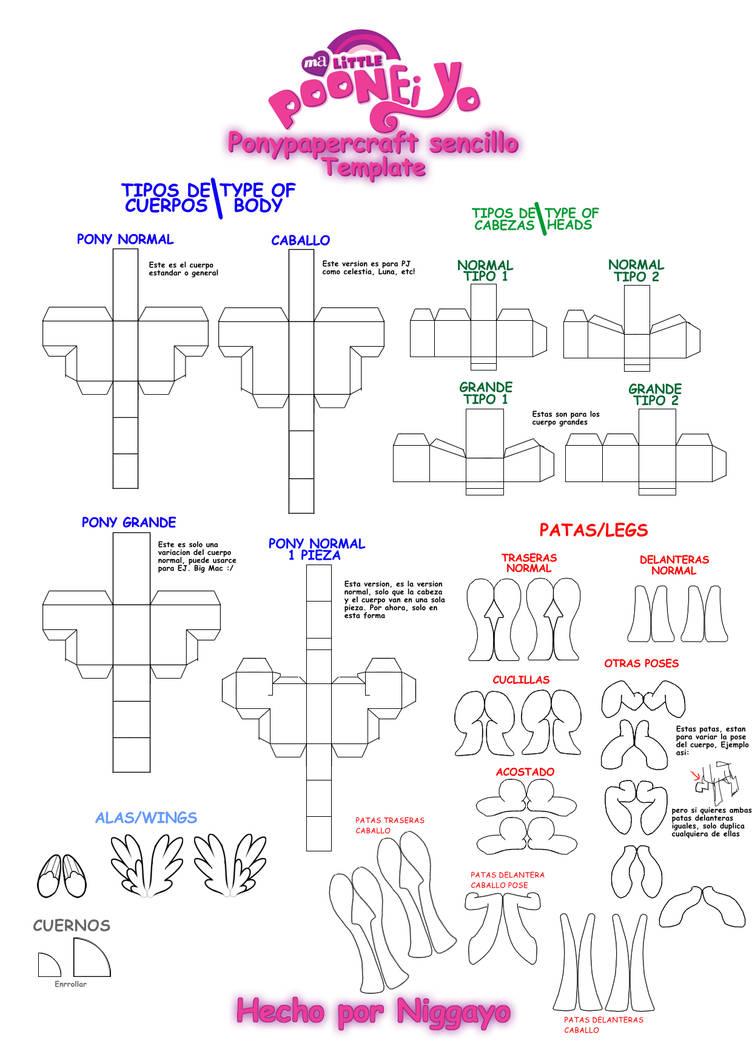 Pony Papercraft Sencillo Template