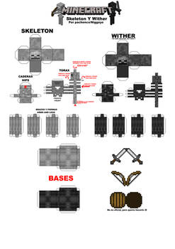 Minecraft Papercrafts Skeletons Y Wither