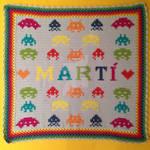 Space invaders crochet baby blanket by weirdoonna