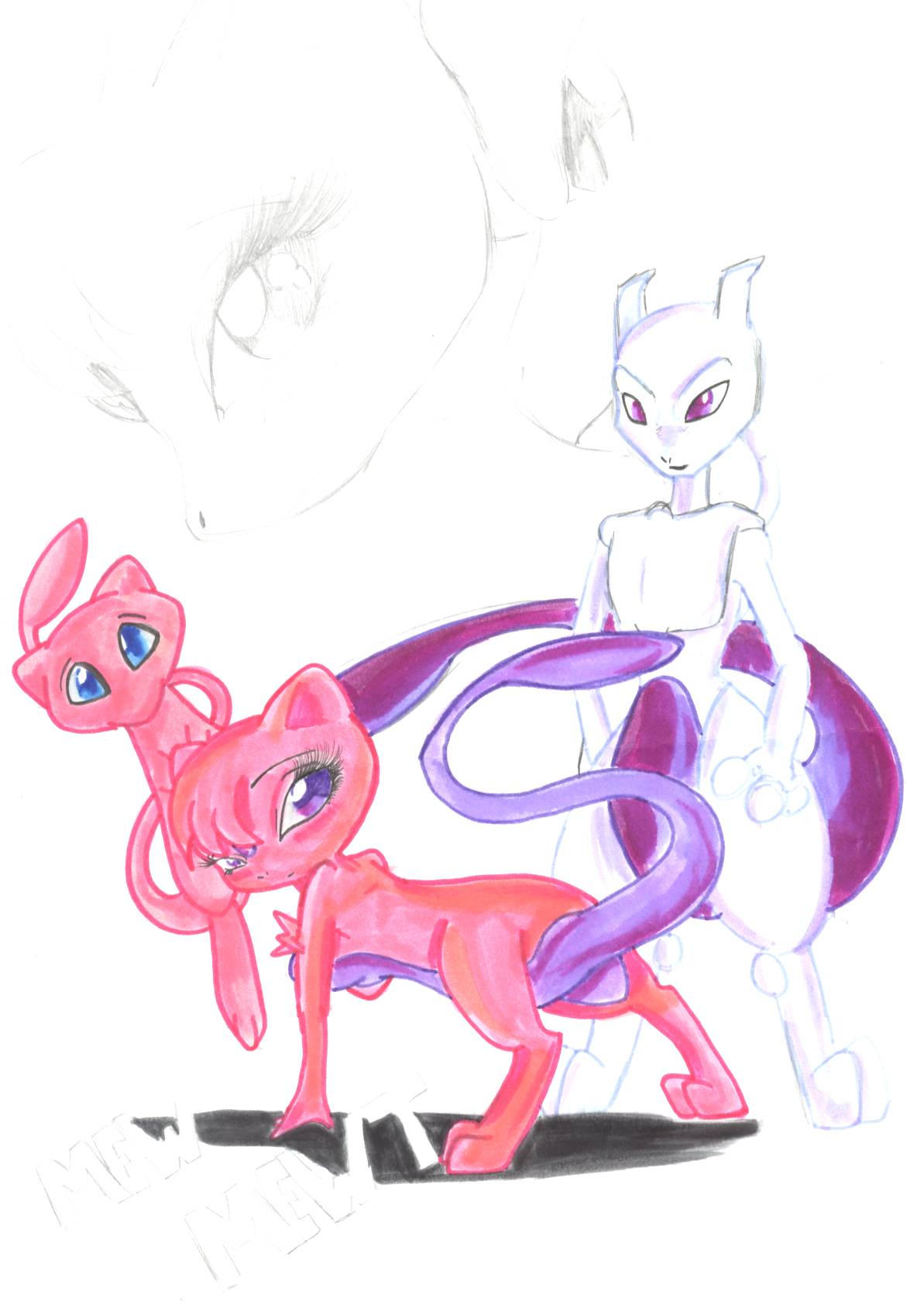 Mewtwo vs mew wallpaper