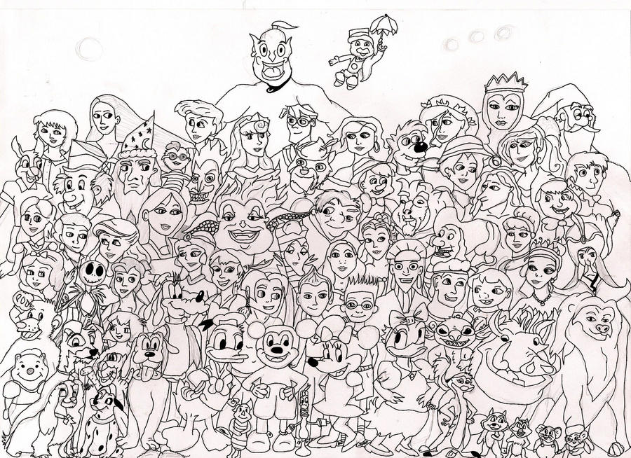 Single Line Character Art : Disney characters line art by amethystrose on deviantart