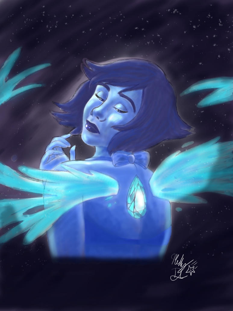 Lapis Lazuli fan art inspired by the Steven Universe television series. Drawn and coloured with digital media programme.