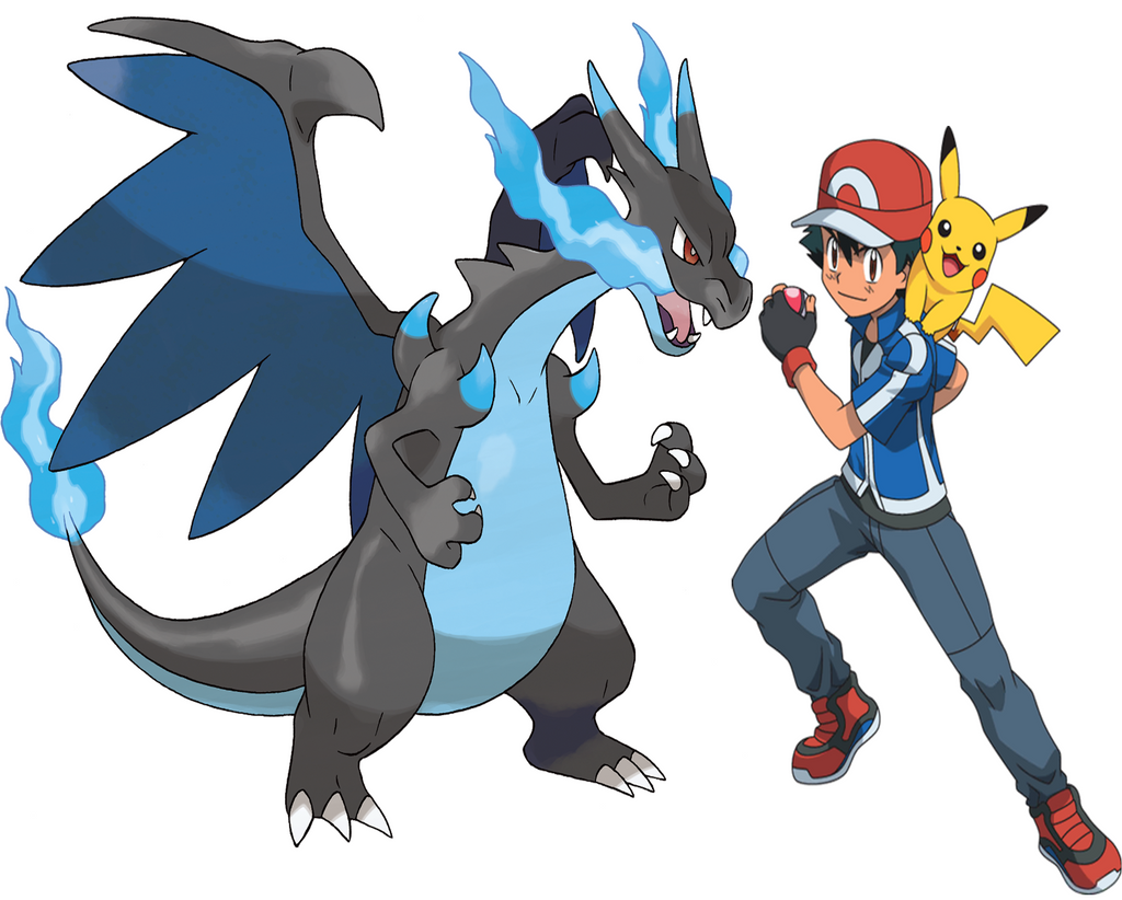 ash and his mega charizard x by frie ice on deviantart