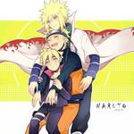 Minato, Naruto, and Boruto cuddle Wallpaper