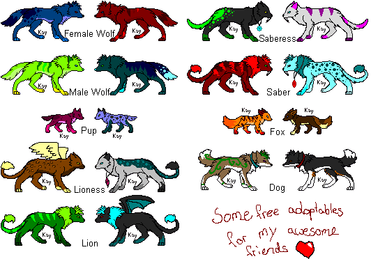 Free Adoptables! for friends XD by Lalaloraa