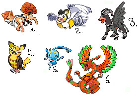 Yaay my first pokemon fusion sprites adopables! by Lalaloraa