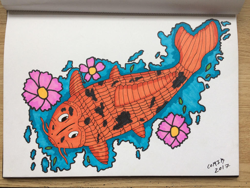 Koi Carp Fish *Blackbook Drawing* by Comik93