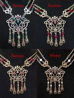 Art Nouveau Seasons necklaces by MetallicVisions