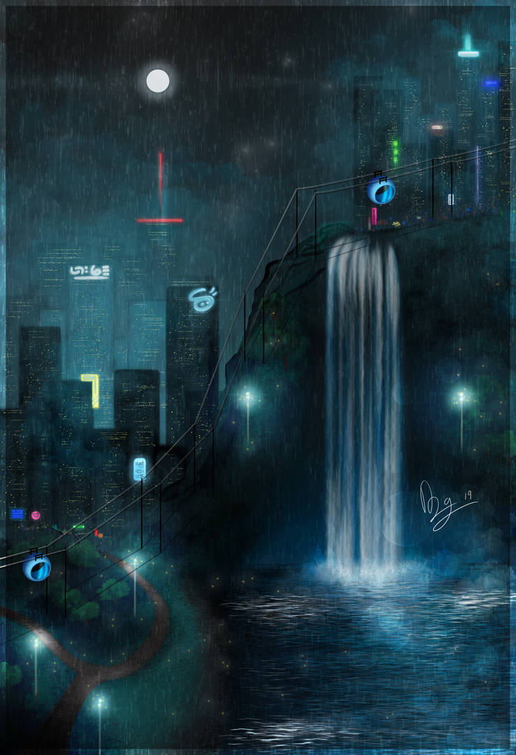 Concept Art Rainy Cyberpunk City by AngoraART