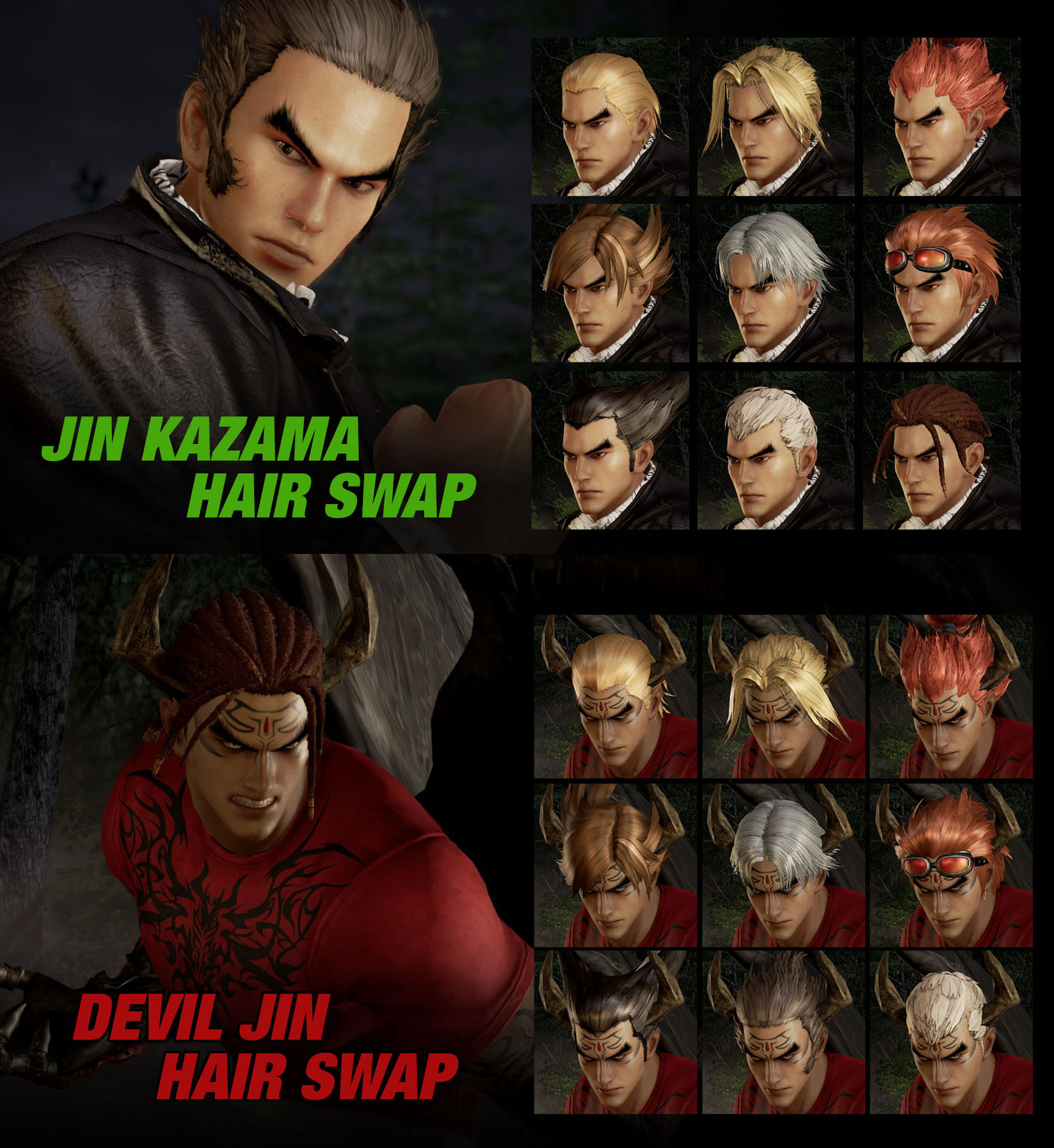 066 Jin Devil Jin 2 In 1 Hair Swap By 9876789 On Deviantart
