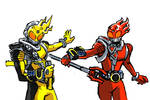 Kamen Rider Meteor Elec and Fire States