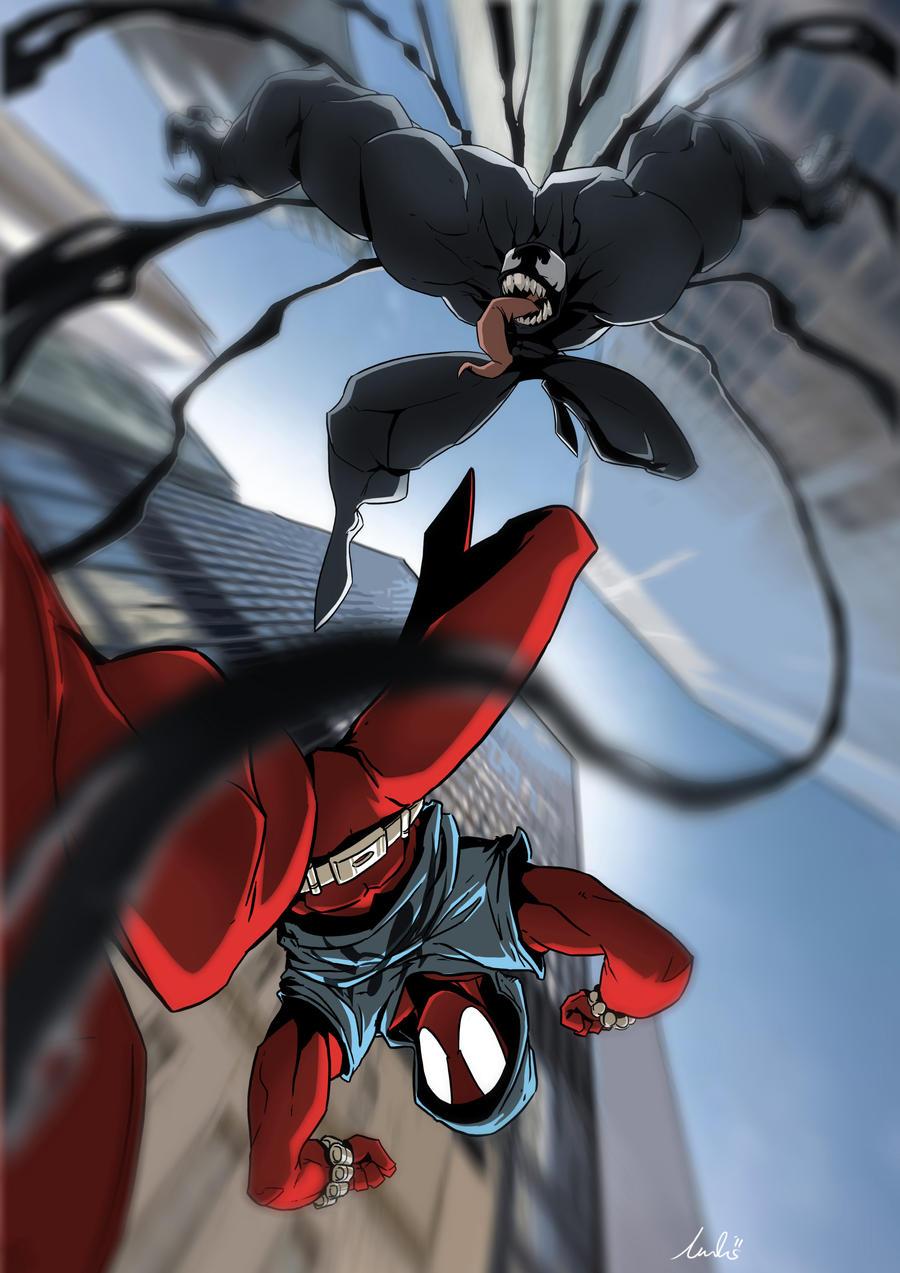 The Scarlet Spider Vs Venom    artwork by Andre Dreviator  2012 Scarlet Spider Vs Scarlet Spider
