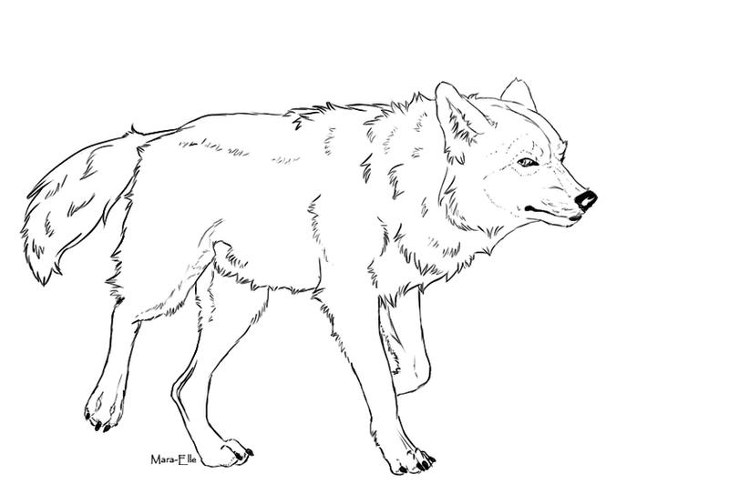 Wolf Walk - Free Lineart by Mara-Elle