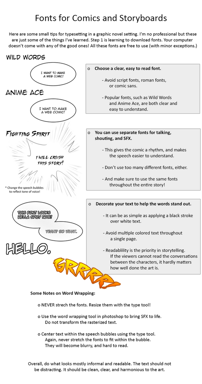 Advice for Story Artists pt 2 - Font Tutorial by Mara-Elle
