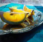 Lemons Slices on a Silver Platter