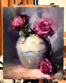 Red Roses and a Vase