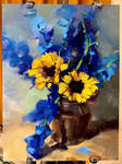 Sunflowers and Blue Accents