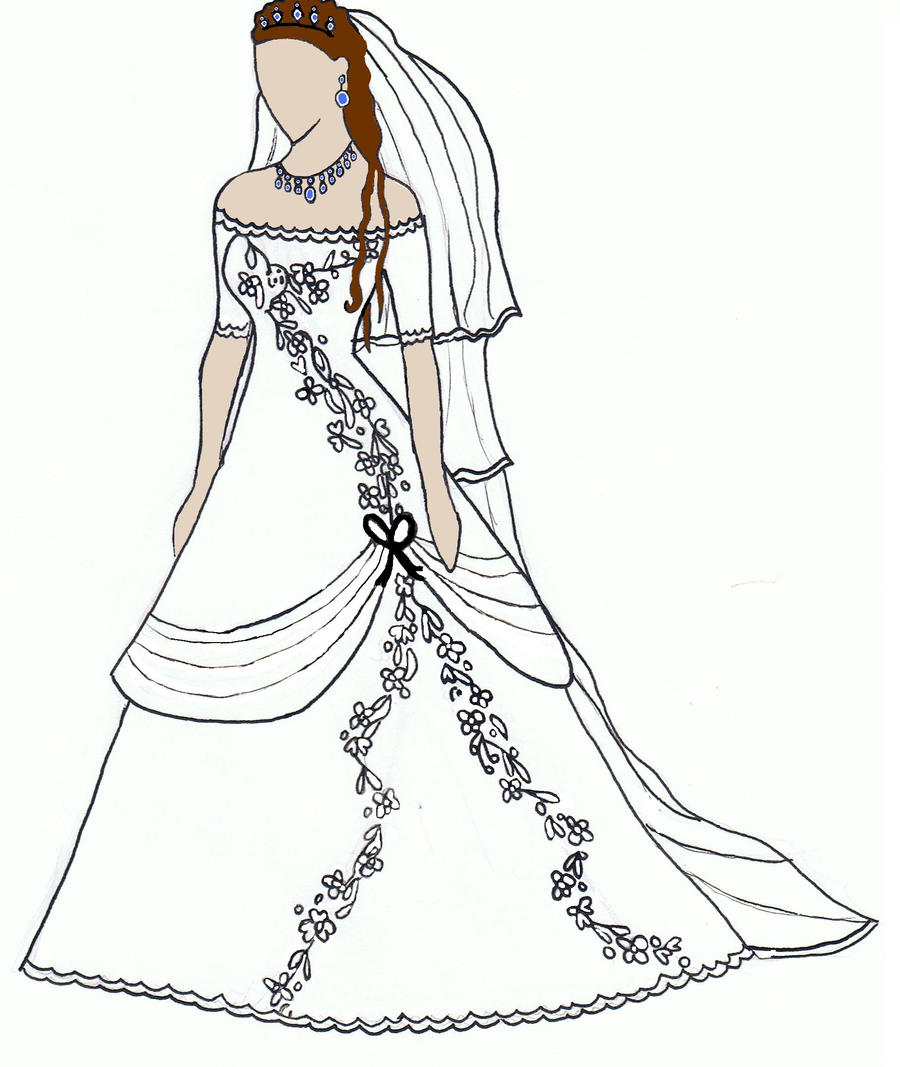 Wedding Dress Line Drawing : Yuuki s wedding dress by vampiremaddy on deviantart