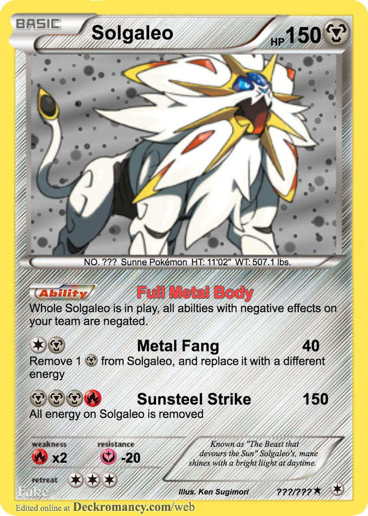 Solgaleo Pokemon Card 613211149