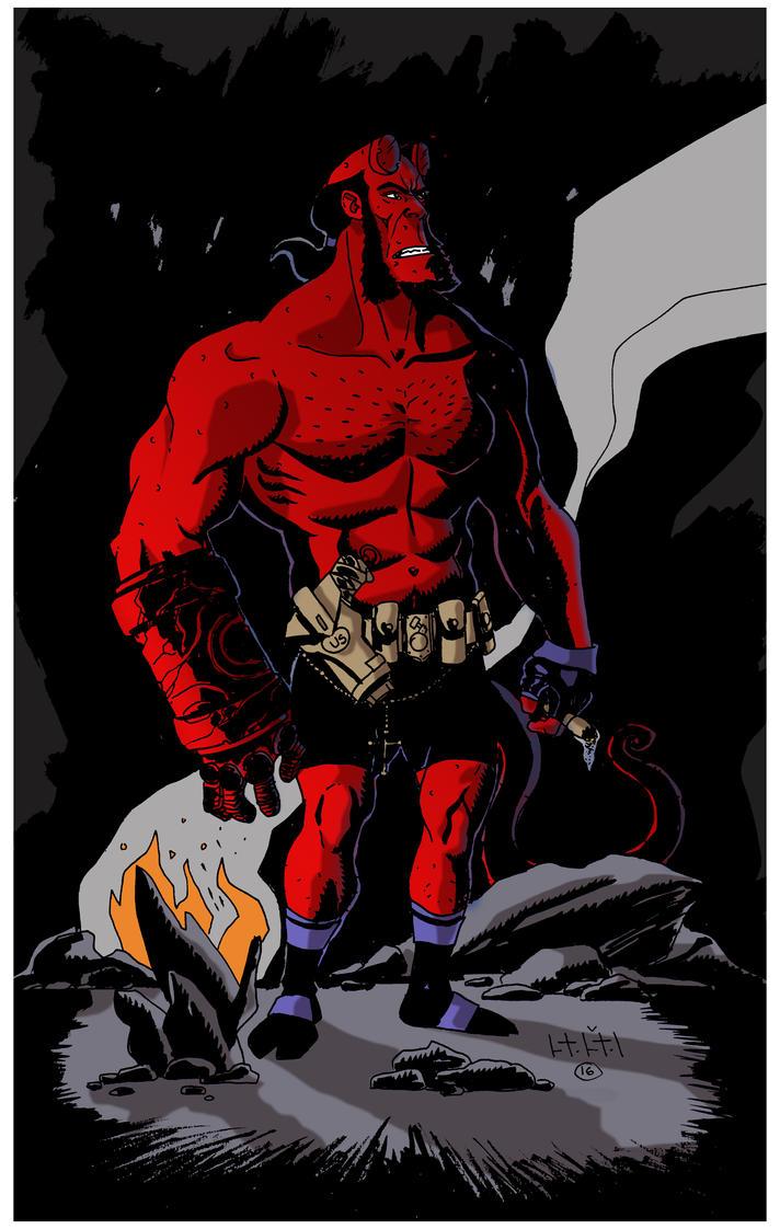 Hellboy Drawing  Color by SasaBralic