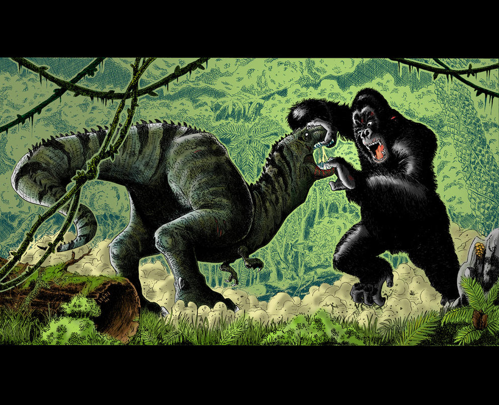 King kong vs t rex in colour by sasabralic