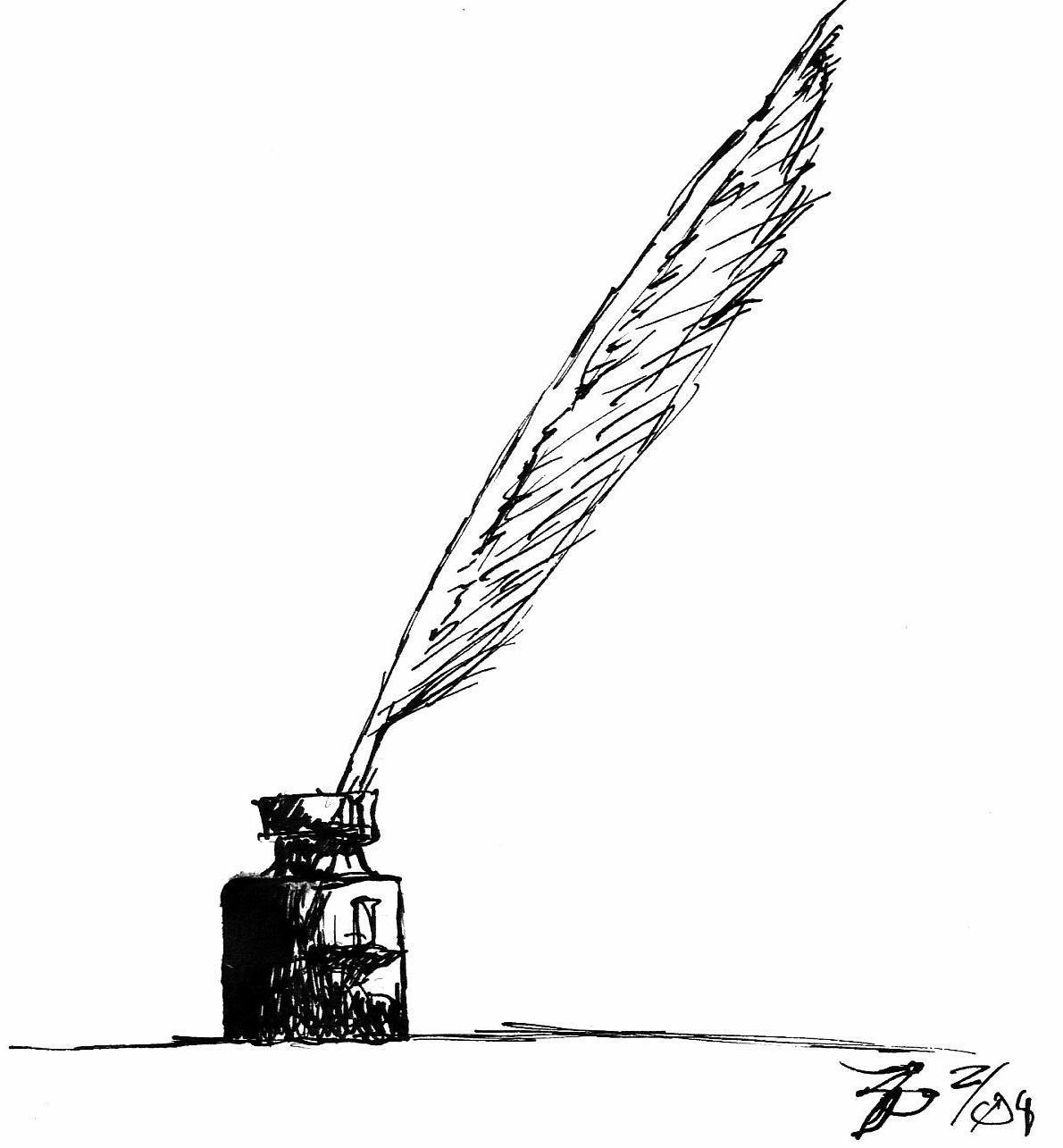 Quill And Inkwell Drawing Quill and Ink b...