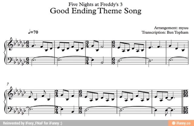 Fnaf good ending sheet music by kayruh on deviantart