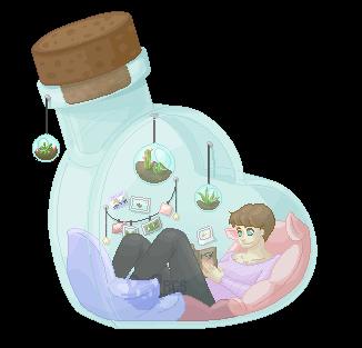 Chilling in a Bottle by RedCatStudioArt