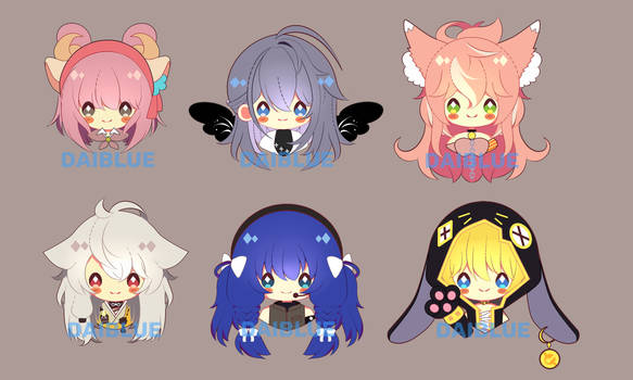 Commission Batch 1 - Chibi Icons by dAi-Blue