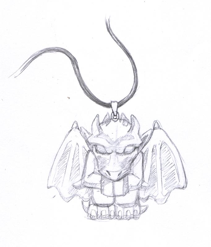 Gargoyle Pendant Sketch by Neomae