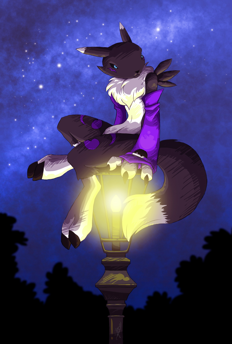 Black Renamon on a lantern by Neomae